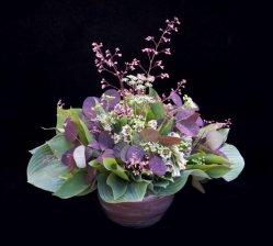 Flowers in short vase